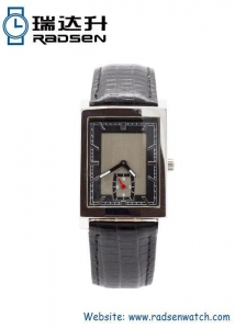 China Men Watches Stainless Steel Mens Watch Antique Square Face with Genuine Leather Band on sale