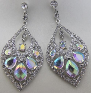 China Fashion Alloy Accessories Elegant AB Crystal Glass Crystal Stone Statement Earrings on sale