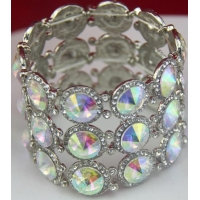 China Glass Rhinestone Bracelets For Wedding Party Iridescent Crystal + Crystal AB Design on sale