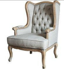 China European Rustic Wooden Leisure Chair For Bedroom , Antique Upholstered Armchairs on sale