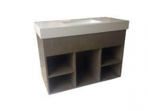 China Custom Open Cube Solid Wood Bathroom Vanities Without Tops White Quartz on sale