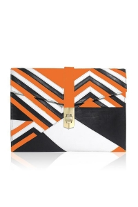 China CHEVRON ENVELOPE CLUTCH ORANGE/BLACK/WHITE LEATHER APPLIQUE on sale