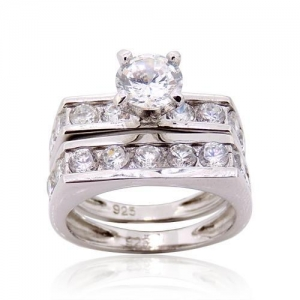 China Diamond Cut Cubic Zirconia CZ Wedding and Engagement Ring Set in 925 Sterling Silver on sale