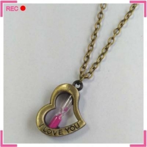 China Heart shape necklace with Hourglass, antique copper necklaces for couples on sale