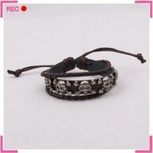China Engravable cuff bracelet for halloween, adjustable men skull bracelet on sale