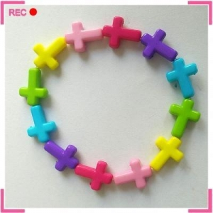 China Plastic bracelet blanks with colorful beads, cross beads religious bead bracelets on sale