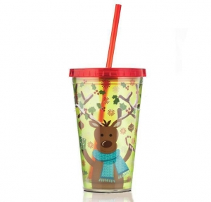 China Christmas Plastic Cups With Straw on sale