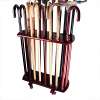 Solid Wood Walking Sticks Cane Display Stand With Wheels Large Quantity Discount Factory Sale