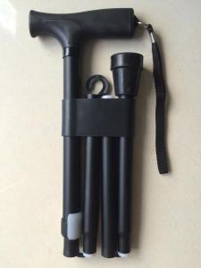 China Matt Finish Folding Aluminum Cane Black Walking Stick Walking Canes Medical Canes For Sale on sale