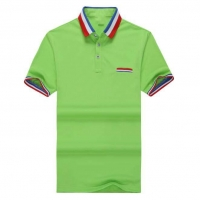 Latest design 240gsm heavy cotton pique green polo shirt with chest pocket