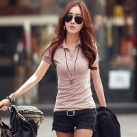 Ladies Simple Design Polyester Spandex V Neck Polo Shirts Without Button