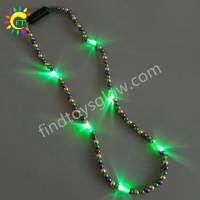 Mardi Gras LED Light Up Beaded Necklace with Purple Green Gold Colors Beads