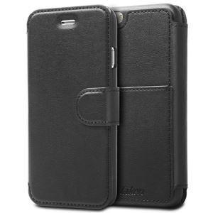 China Black Leather Wallet Phone Case for iPhone 6 with Card Holder Cell Phone Wallet for Men on sale