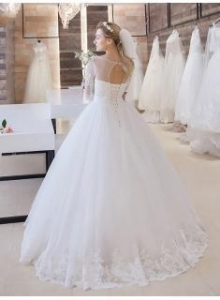 China Stunning Lace-Up Princess Floor-Length Half-Sleeve Lace Wedding DressItem Code: PT0355 on sale