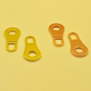 China Zipper Pull Tab Custom Logo Plating Rack Nickel Alloy Pulls for Zipper Sliders on sale
