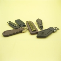Custom Logo Rectangle Leather Pull with Suture for Zipper for Replacement