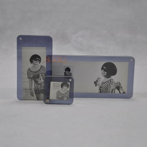 China Clear Magnetic Acrylic Block Photo Picture Frame Plexiglass Photo Holder Lucite Picture Frame on sale