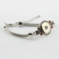 sterling silver snake chain bracelet Silver Snap Button Bracelet With Red Crystal And Snake Chain