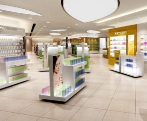 China Retail Store Design Gondola Shelves for Cosmetic in Acrylic Wood and Glass on sale