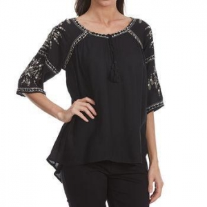 China MAISON COUPE Women's Embroidered Woven -Sleeve Shirt with Tassels on sale