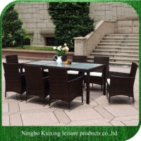China Dining Set Cube Table Outdoor Furniture Garden Dining Set, SGS Approved, rectangle Table, 8 Chairs on sale
