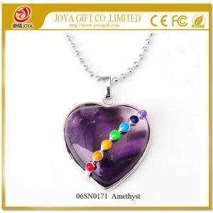 China Seven Chakras Gemstone Amethyst Heart Pendant Necklace on sale