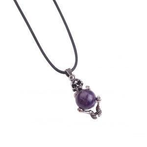 China Charm Amethyst Skull Healing Gemstone Pendant Necklace on sale