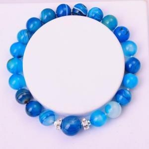 China Semi Precious Stone 8MM Round Beads Blue Agate Bracelet on sale