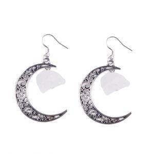 China Trending Moon Silver Alloy Colorful Gem Drop Earrings Jewelry on sale