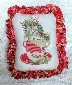 China Christmas Tea Cups Accent Pillow on sale