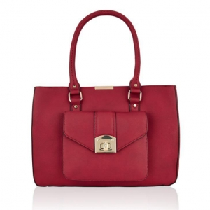 China Ladies Burgundy Leather-look Shoulder Bag A Elegant Front Pocket Handbag on sale