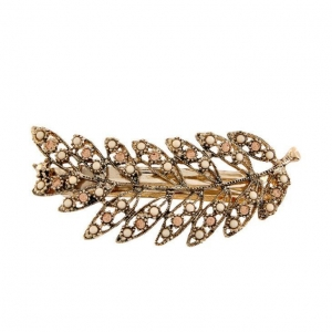 China Crystal Rhinestone And Stones Clip Elegant Gold-Tone Leaf Design Barrette Hairpin on sale