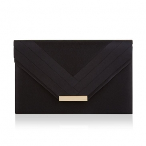 China Women's Black Satin Evening Wedding Envelope Clutch Bag with An Gold-tone Chain And Magnet Fastener on sale