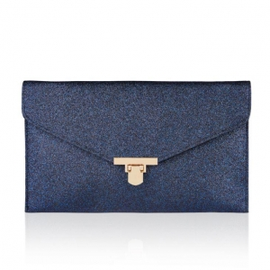 China Women's Elegant Ocean Blue PU Sparkle Glittery Envelope Clutch Bag With A Metal Clasp Fastener on sale