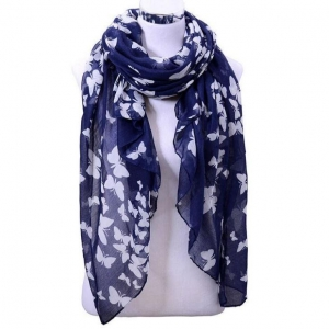 China Elegant Dark Blue 100% Polyester Butterfly Printed Soft Scarf on sale