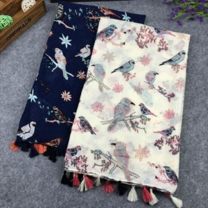 China Women's Birds Floral Print Scarf. Navy Blue And Offwhite Soft Shawl With Tassels on sale