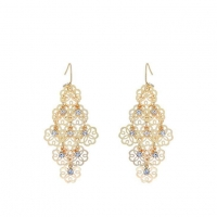 Wedding Bridal Gold-tone Metallic Chandelier Earrings with Filigree Flowers and Crystal Stone Drops