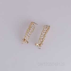 China Chic Multi Layer Linked Round Rings Circle Hoop Long Bar Gold Tone Dangle Pierced Earrings on sale