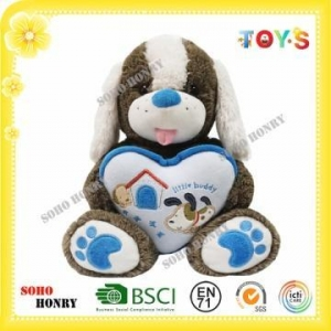 China TOYS Custom Valentine Stuffed Dog Toy with Heart on sale