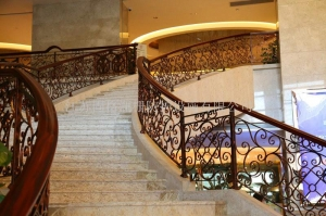 China Custom class forged iron products Hotel staircase handrail on sale