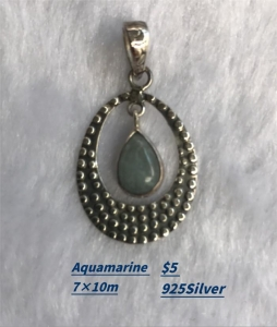 China Sterling Silver Pearl Necklace Aquamarine Pendant on sale