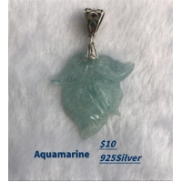 Sterling Silver Pearl Necklace Aquamarine Pendant