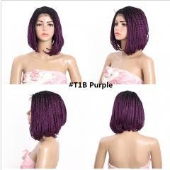China Lace braid Bob lopsided crochet twist braid lace front wig natural side on sale