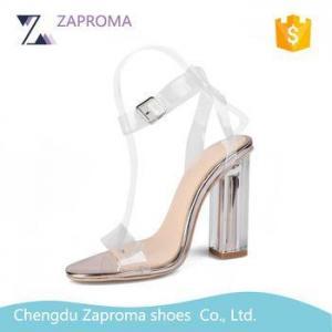 China HN050 Summer Collection Italian Popular High Heel Transparent Strap Crystal Heel Woman Sandals on sale