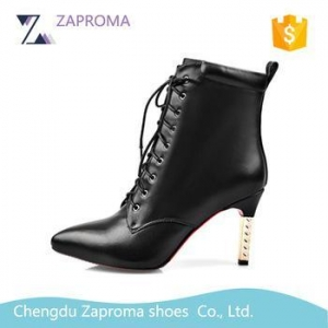 China HN029 Hot Design Military Ankle High Heel Boots Lace Up Boots 2017 Women Shoes on sale