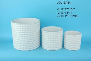 China new design glazed white ceramic flower pot planter pot on sale