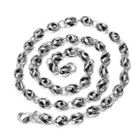 China 925 Sterling Silver Personalized Hollow Twisted Beads Link Vintage Men's Chain Necklace - 7mm Wide on sale