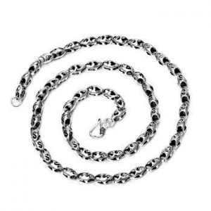 China 925 Sterling Silver Heart And S Hollow Drops Link Vintage Chain Necklace For Men - 6mm Wide on sale