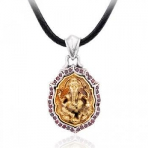 China 925 Sterling Silver Inlayed Gemstones Brass Golden Ganesh Men's Pendant on sale