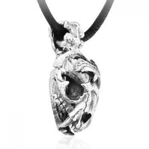 China 925 Sterling Silver Vintage Ice Age Saber-toothed Tiger Skull Pendant Necklace Gift For Cool Men on sale